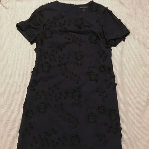 Embroidered Navy and Black Flower Sheath Dress